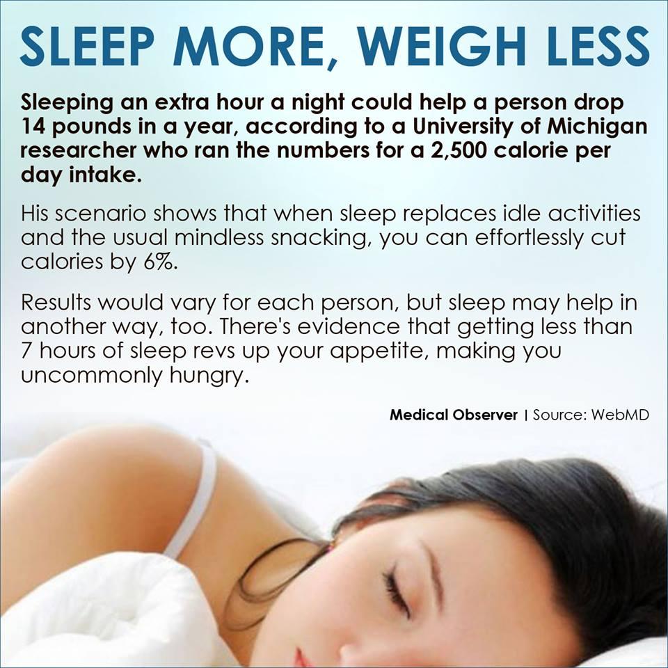 Sleep more weigh less